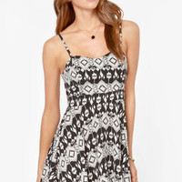 Lucy Love Felicity Ivory and Black Print Dress