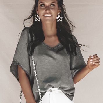 Painted Lady Distressed Charcoal V-neck Top