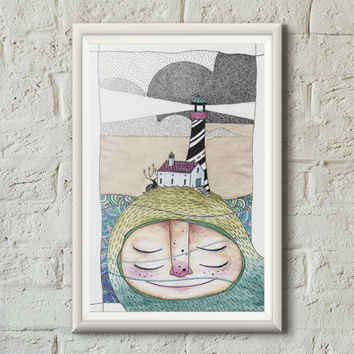 Giant art print illustration, Lighthouse, Watercolor, Sharpie, Dot work, Mystical, Decorative art, Dreamy, Home decor, Kids wall art