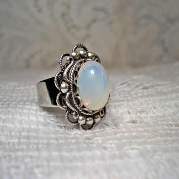 Ring - White Opal Ring - Silver Ring - Adjustable ring - Moonstone - Faux Moon opal -Vintage Style Ring - Free Shipping
