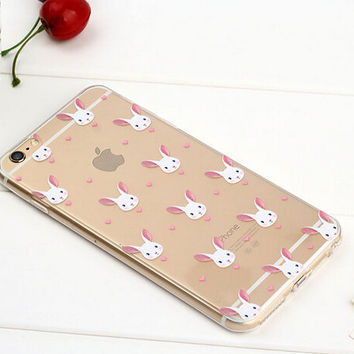 Cute Rabbit Case TPU Cover for iphone 7 7 Plus & iphone 6 6s Plus & iphone se 5s + Gift Box