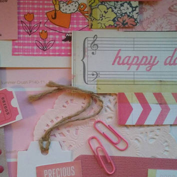 Pink papercrafting pack. Pink paper collage kit. Pink junk journal kit. Pink ephemera pack.