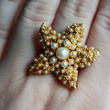 Unique Pearl starfish gold adjustable ring