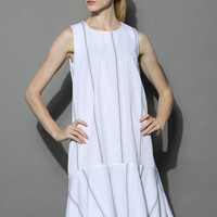 Ultra Chic Ruffled Shift Dress in White White S/M