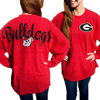 Georgia Bulldogs Women's Logo Sweeper Long Sleeve Oversized Top Shirt