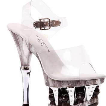 Ellie Shoes E-629-BROOK 6 ANKLE STRAP With DISCO BALL ACCENTS IN PLATFORM