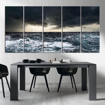 Canvas Art Print The Ocean Storm, Wall Art Wave on Ocean Canvas Print, Extra Large Ocean Photo Print on Canvas