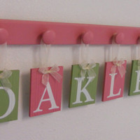 Personalized Children - Children Decor Pink and Green 6 Wooden Hooks Baby Name Plaques - OAKLEE