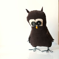 Owl bird soft sculpture decoration handsewn plush. Hans the owl, ready to ship