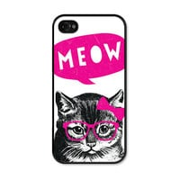 Cat Apple iPhone 5 Case - Plastic iPhone 5 Cover - Funny iPhone 5 Skin - Neon Pink Black Fluorescent Mustache Glasses Bow Phone