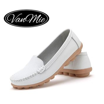 2016 Spring Women Flats Shoes Woman Slip On Loafers Women's Flats Shoes Soft White Nurse Female Shoes