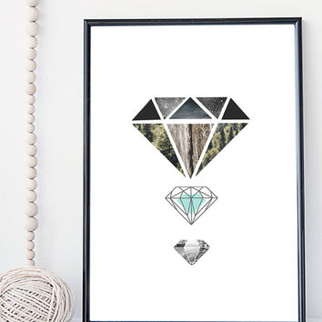 Diamond art print, crystal illustration, geometric modern art print, nature art print, home wall decor, apartment wall art, gift, minimal,
