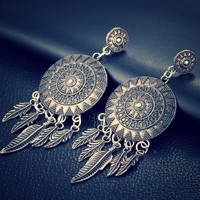 Dream Catcher Vintage Leaf Feather Dangle Earrings ~