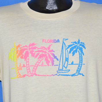 80s Florida Neon Rainbow Palm Tree t-shirt Medium