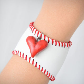 Baseball Cuff Bracelet With Red Heart Handmade Made From Baseball Ball