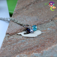 Hawaiian Jewelry by Mermaid Tears, dainty whale necklace from Hawaii for beach brides