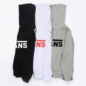 VANS fleece sweater fashion casual men and women students sweater hoodie letter printing shirt