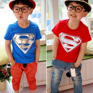 2015 New Superman t shirt Boys' T-shirts Summer Short Sleeve Cotton Baby  Kids Froze T Shirt = 1946489540