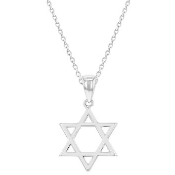 Rhodium Plated Plain Small Star of David Necklace Jewish Girls Kids Pendant 16""