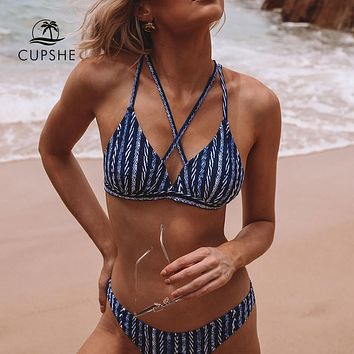 CUPSHE Strappy Navy And White Bikini Sets Women Sexy Triangle Two Pieces Swimsuits 2019 Girl Beach Bathing Suits Swimwear