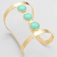 Tunnel Cabochon Cuff Bracelet Mint Gold
