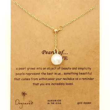 Dogeared Charm Zip Pearl Of Love Drop 18K Gold Plated Shorts Chains Bib Clavicle Fashion Necklace