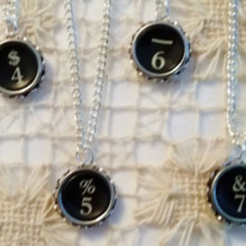 Number Necklace, 2, 3, 4, 5, 6, 7, 8, 9 Antique Typewriter Key Necklace, Black Typewriter Key, Number Jewelry, Number Pendant, Silver Chain