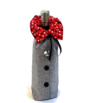 WINE Fabric Gift Bag silver red black fabric gift bag holiday gift wrap