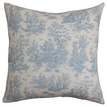 The Pillow Collection P18-PP-JAMESTOWN-BABYBLUE-C100 Lalibela Blue 18 x 18 Toile Throw Pillow