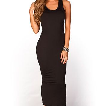 Danya Black Casual Jersey Bodycon Midi Dress
