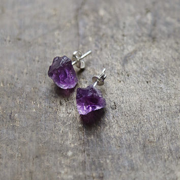 Amethyst Earrings, Raw Stone Studs, Vibrant Purple Earrings, Small Amethyst And Sterling Posts, February Birthstone