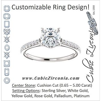 Cubic Zirconia Engagement Ring- The Delanie (Customizable Cathedral-set Cushion Cut Style with Thin Pavé Band, Inlaid Milgrain and Tiny Peekaboo Accents)