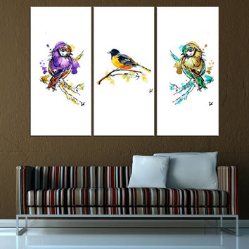 watercolor canvas print, birds wall art, extra large wall art, watercolor wall art print fine art, large abtract wall art  t595