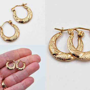 Vintage 10K Yellow Gold Hoop Pierced Earrings, Crosshatch, Smooth, Textured, Shiny, 10K Gold Hoops, Post, Latch Back, Superb! #c212