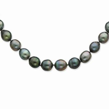 14K White Gold Luxury Saltwater Tahitian Pearl Necklace