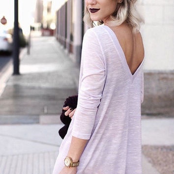 Purple Long Sleeve Backless Dress