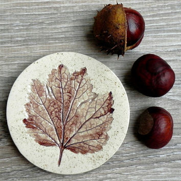 Fall Ceramic Dish Rustic Small Pottery Plate Autumn Leaf Jewelry Dish