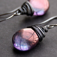 Purple Glass Earrings, Oxidized Sterling Silver Wire Wrapped Czech Glass Flat Teardrop, Sterling Silver Earwires