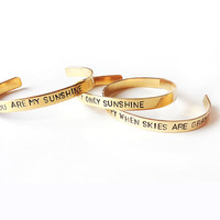 Set stacking cuff bracelets, You are my sunshine braclet, inspirational quote, mother daughter jewelry - hand stamped bracelet