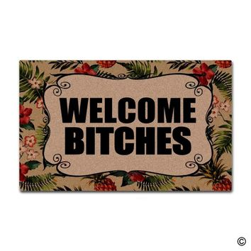 Autumn Fall welcome door mat doormat  Funny  Welcome Bitches Front Door Home Decorative Indoor Outdoor Entrance Floor Mat AT_76_7
