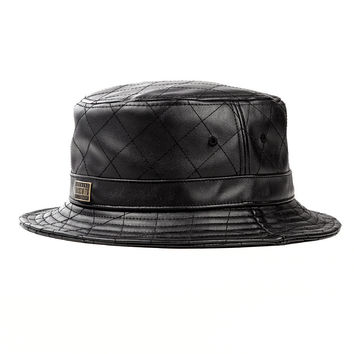 Bawse Quilted Leather Bucket Hat In Black | Rocksmith