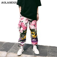 Aolamegs Cargo Pants Men Military Camouflage Hip Hop Pants Baggy Tactical Trouser Multi Color Cotton Fashion Streetwear Joggers