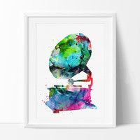Gramophone Watercolor Painting  Watercolor Print, Gramophone Decor, Watercolor Art,Watercolor Painting, Abstract watercolor Art Poster (117)