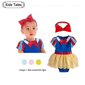 SR023 Snow White Princess romper Baby girl romper baby girl clothes children clothing new 2017 summer newborn baby costume