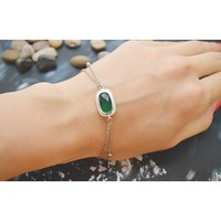 Designer White gold double layered emerald bracelet