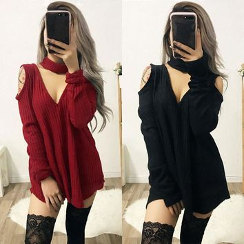 TTYL Sweater (Black, Burgundy) - Fashion Women Chocker Long Sleeve Sweater Jumper Pullover Top Casual Party Dress