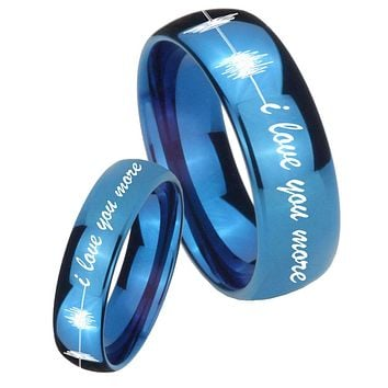 His Hers Mirror Blue Dome Sound Wave i love you more more Tungsten Carbide Wedding Rings Set