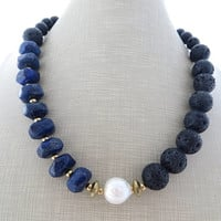 Black lava necklace, blue lapis lazuli necklace, chunky necklace, baroque pearl necklace, beaded necklace, stone choker, italian jewelry