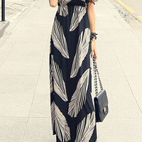 Black Halter Printed Maxi Dress