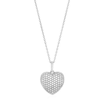 Puffed Heart Pendant with Cubic Zirconia in Sterling Silver